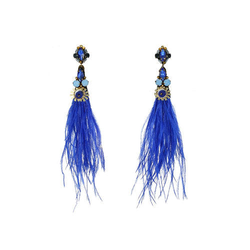 Wholesale Natural Genuine Ostrich Feather Drop Earrings
