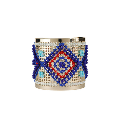 Wholesale Cross Stitch Metal Cuff Handcrafted Bracelet Jewelry Custom Bijoux
