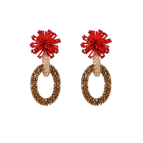Wholesale Statement Handmade Hoop Earrings With Beads Weaving Custom Bijoux