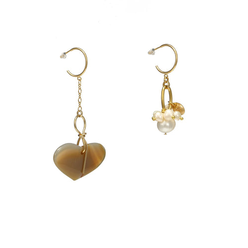 Wholesale Asymmetrical Heart Agate And Pearl Earrings