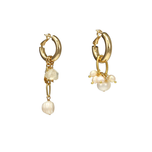 Wholesale Mismatched Citrine Pearls Cross Earrings