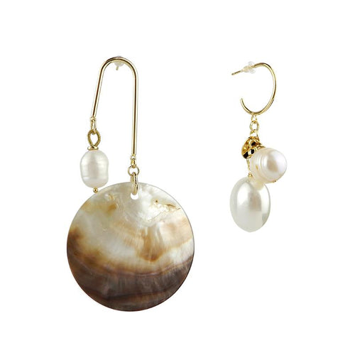 Wholesale Sea Shell Pearl Asymmetrical Earring