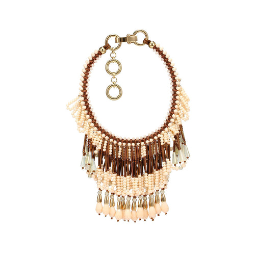 Wholesale Handcrafted Luxurious Three Layered Fringe Statement Necklace Custom Bijoux