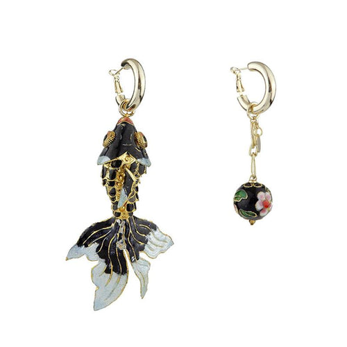 Wholesale Vintage Cloisonne Articulated Asymmetrical Fish Handmade Drop Earrings Custom Bijoux