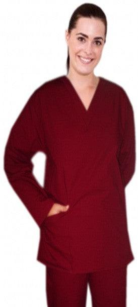 A+ Microfiber Top v neck 2 pocket solid full sleeve ladies - A Plus Medical Scrubs