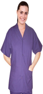A+ Microfiber Top collar style ladies 2 pocket top half sleeve front open snap buttons style - A Plus Medical Scrubs