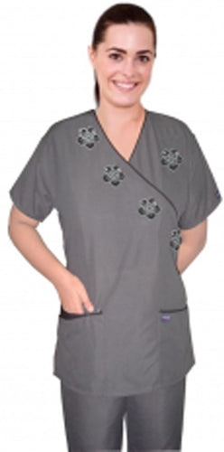 A+ Stylish top black flower mock wrap microfiber grey top with half sleeve - A Plus Medical Scrubs