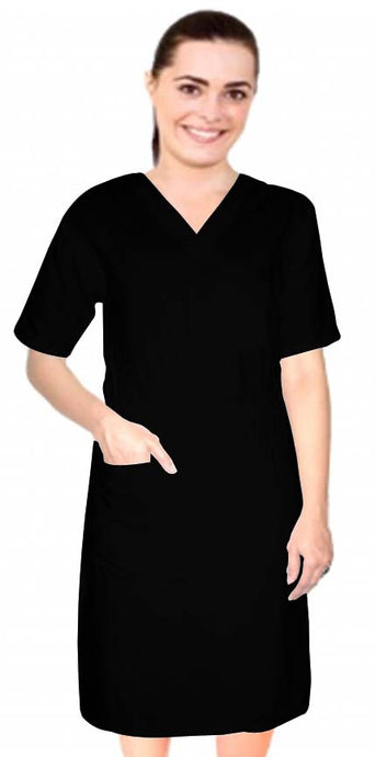 A+ Microfiber Nursing Dress Half Sleeve Elastic Waist V Neck with 3 Front Pockets Below Knee Length - A Plus Medical Scrubs