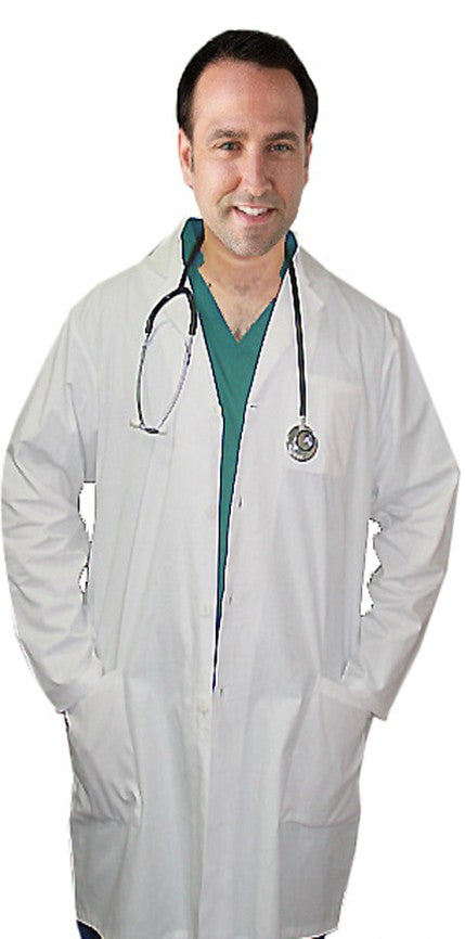 A+ Microfiber labcoat unisex full sleeve with plastic buttons 3 pocket solid - A Plus Medical Scrubs