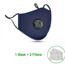 Load image into Gallery viewer, Washable Face Mask Cotton Mask Activated Carbon Filter Respirator Anti-fog PM2.5 with 2 filters (24 Hours Shipping) - A Plus Medical Scrubs