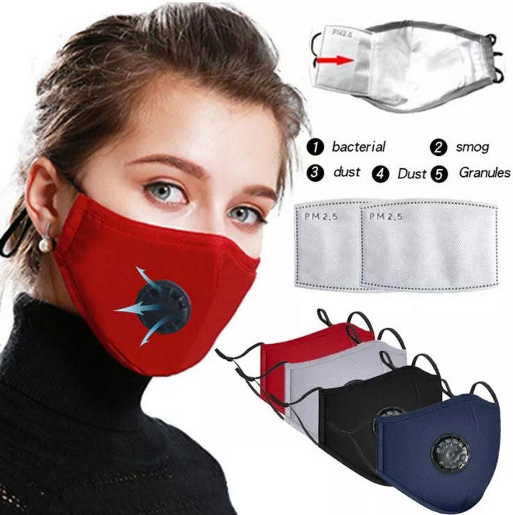 Washable Face Mask Cotton Mask Activated Carbon Filter Respirator Anti-fog PM2.5 with 2 filters (24 Hours Shipping)