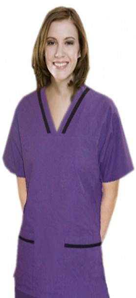 Contrast bias v-neck tunic style 4 pocket half sleeve with matching bottom (top 2 pkt with bottom 2 pkt boot cut) - A Plus Medical Scrubs