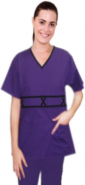 A+ Microfiber v-neck double piping 3 cross style 5 pocket set half sleeve - A Plus Medical Scrubs