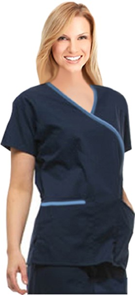A+ Microfiber Set Crossover 5 Pocket Solid Half Sleeve - A Plus Medical Scrubs