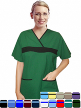 Load image into Gallery viewer, A+ Microfiber set 5 pocket ladies half sleeve fashion contrast with matching bottom - A Plus Medical Scrubs
