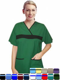 A+ Microfiber set 5 pocket ladies half sleeve fashion contrast with matching bottom - A Plus Medical Scrubs