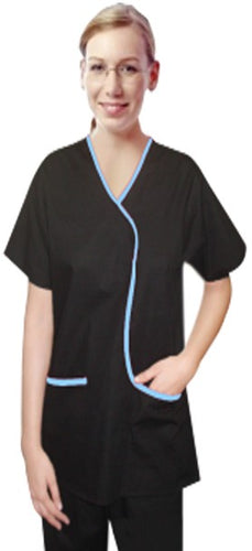 A+ Microfiber set 5 pocket ladies contrast piping L style solid top half sleeve - A Plus Medical Scrubs