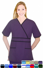 Load image into Gallery viewer, Microfiber crossover set horizontal piping solid 5 pocket half sleeve - A Plus Medical Scrubs