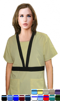 A+ Microfiber Empire Waist Contrast Trim 4 Pocket Set Half Sleeve With Matching Bottom - A Plus Medical Scrubs