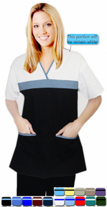 A+ Microfiber Set 5 Pocket Empire Wrap Top Half Sleeve Style in Solid - A Plus Medical Scrubs