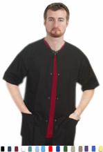 Load image into Gallery viewer, A+ Microfiber Front open 3 pocket unisex solid half sleeve top with snap buttons - A Plus Medical Scrubs