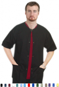 A+ Microfiber Front open 3 pocket unisex solid half sleeve top with snap buttons - A Plus Medical Scrubs