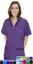 Load image into Gallery viewer, A+ Microfiber contrast bias v-neck tunic style 4 pocket half sleeve with matching bottom - A Plus Medical Scrubs