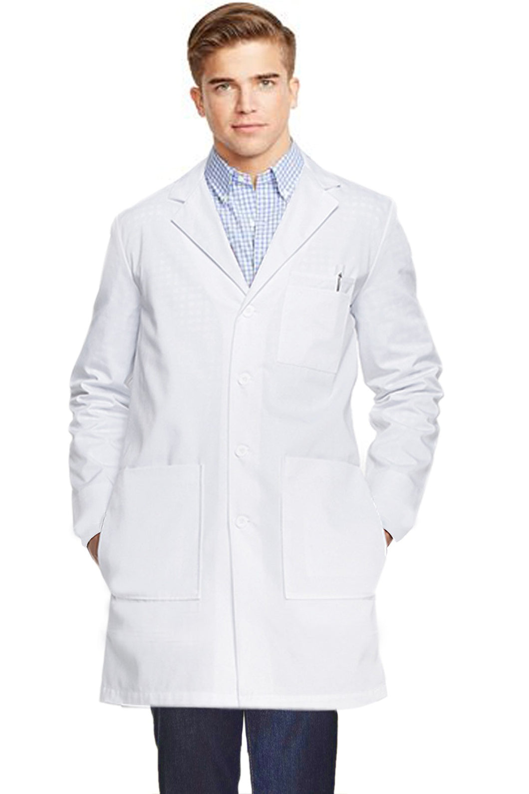 A+ Microfiber labcoat unisex full sleeve with plastic buttons 3 front pockets with side inside pockets - A Plus Medical Scrubs
