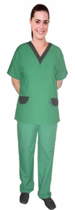 A+ Microfiber a_ set vneck with contrast v with flap at pockets half sleeve - A Plus Medical Scrubs