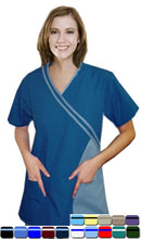 Load image into Gallery viewer, A+ Microfiber double cross piping 4 pocket set half sleeve with matching bottom - A Plus Medical Scrubs