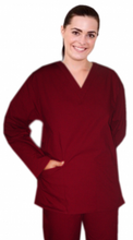 Load image into Gallery viewer, A+ Microfiber Top v neck 2 pocket solid full sleeve ladies - A Plus Medical Scrubs