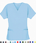 A+ Microfiber Top v neck 2 pocket solid ladies half sleeve with pencil pocket - A Plus Medical Scrubs