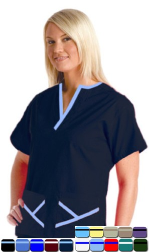 A+ Microfiber Set 5 Pocket Ladies Y-Neck Style Half Sleeve - A Plus Medical Scrubs