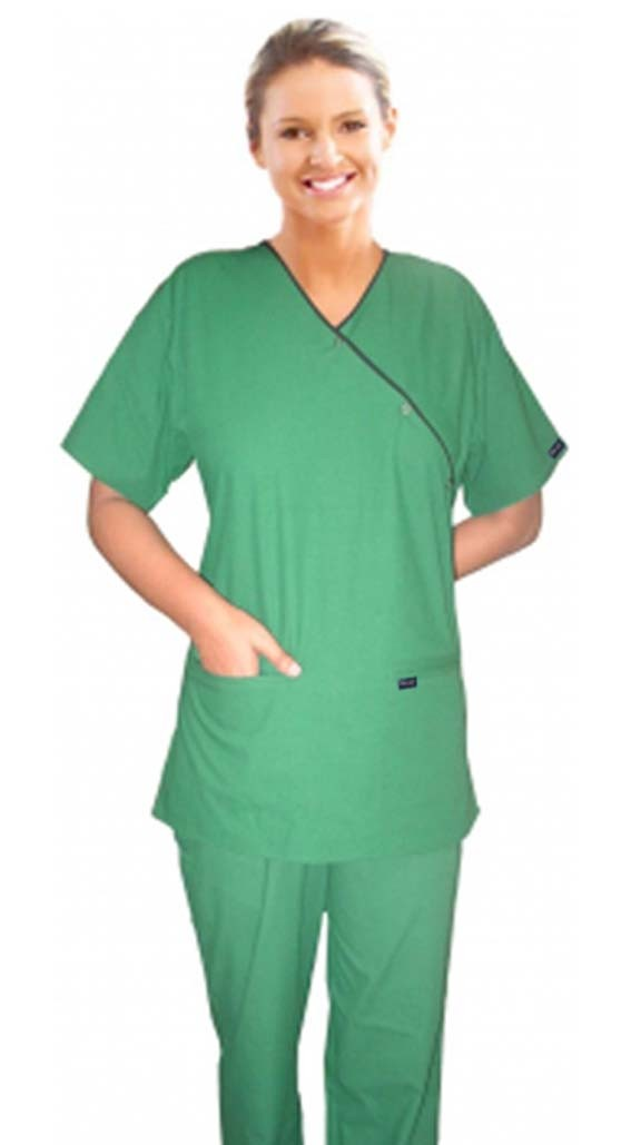 A_scrub set 4 pocket solid ladies half sleeve mockwrap side with snap buttons with welt pocket (2 pocket top 2 pocket boot cut pant) - A Plus Medical Scrubs