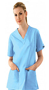Scrub set 7 pocket v neck ladies half sleeve(2 pocket top 5 pocket pant) - A Plus Medical Scrubs