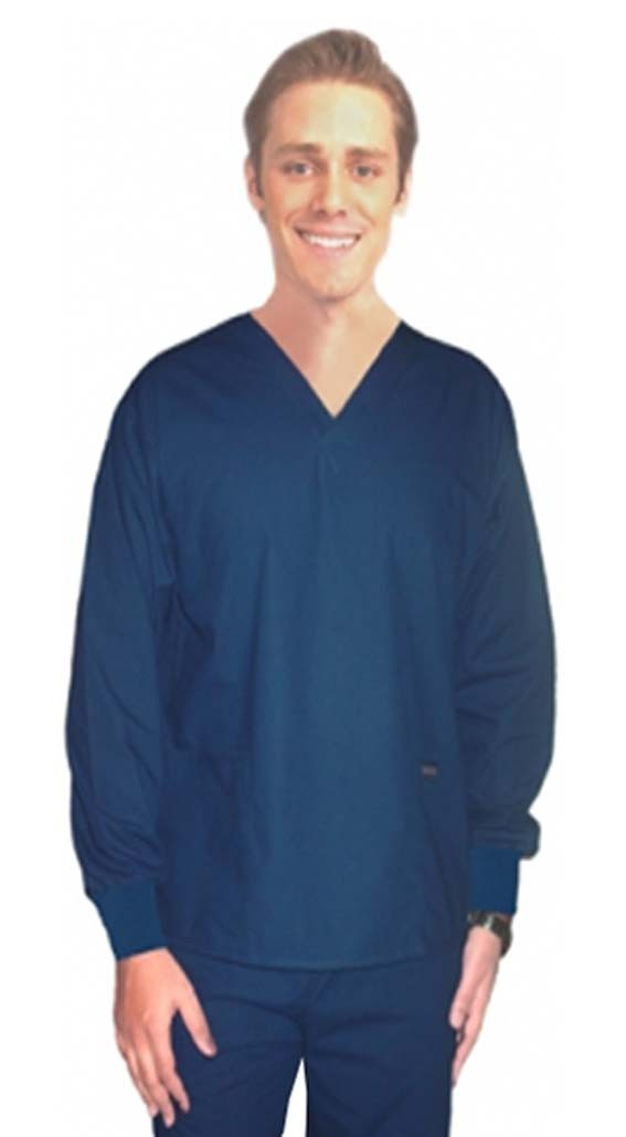 Scrub set 4 pocket solid full sleeve unisex with rib (2 pocket top and 2 pocket pant) - A Plus Medical Scrubs