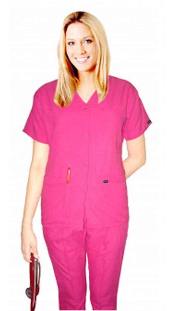 microfiber scrub set 5 pocket solid ladies front open collar with snap buttons half sleeve (2 pkt top with pencil pocket , 2pkt bootcut pant) - A Plus Medical Scrubs