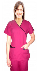 Microfiber scrub set mock wrap 5 pocket half sleeve (top 3 pocket with bottom 2 pocket boot cut) - A Plus Medical Scrubs