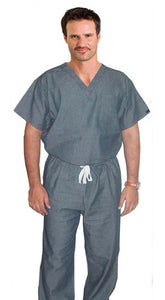 Denim Scrub Set 2 Pocket Normal Half Sleeve Unisex Solid (Top 1 Pocket with Bottom 1 Pocket) - A Plus Medical Scrubs