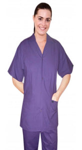 Scrub set 4 pocket solid ladies front open collar with snap buttons half sleeve (2 pocket top 2 pocket boot cut pant) - A Plus Medical Scrubs
