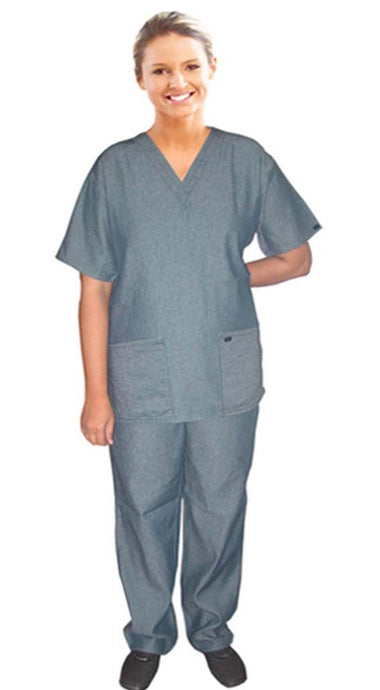 A+ ladies scrub  set 4 pocket solid half sleeve  (2 pocket top and 2 pocket pant) - A Plus Medical Scrubs