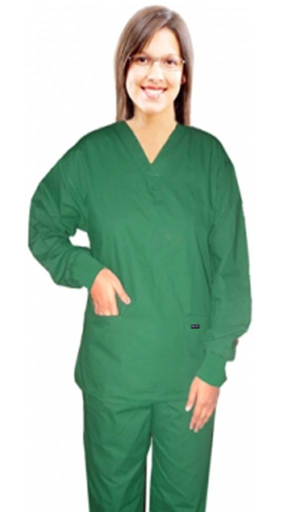 Full sleeve with rib scrub set 4 pocket solid ladies (2 pocket top and 2 pocket pant) - A Plus Medical Scrubs