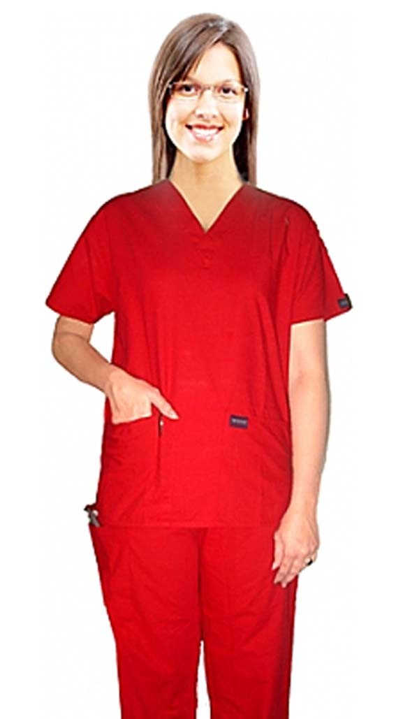 5 pocket solid ladies half sleeve (top 2 pocket with 1 pencil pocket and pant 1 cargo pocket & 1 back pocket) - A Plus Medical Scrubs