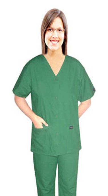ladies 4 pocket solid  front open v-neck with snap buttons half sleeve 2 pocket top and bottom - A Plus Medical Scrubs