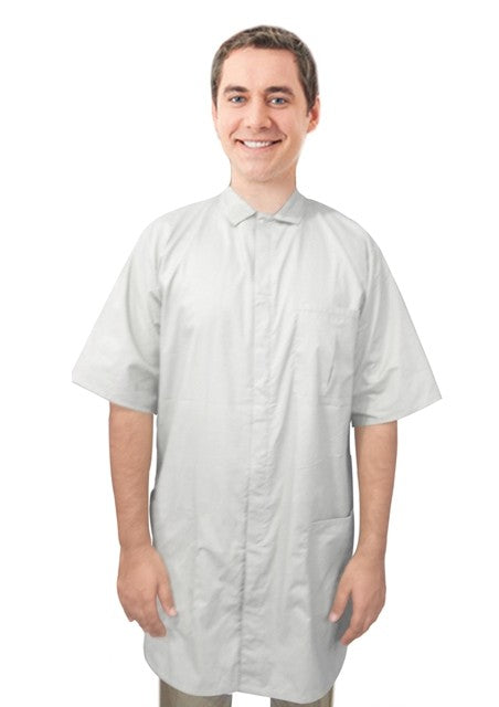 A+ Microfiber labcoat unisex half sleeve snap buttons with covered placket 3 pockets - A Plus Medical Scrubs