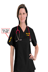 Scrub set 6 pocket v neck ladies half sleeves (top 4 pkt with horn buttons (pocket over pocket style) with pencil pkt pant 2 pkt boot cut) - A Plus Medical Scrubs