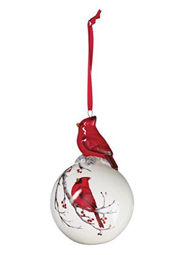 "Sullivans - 4.75"" White Christmas Tree Ball Ornament with Decorated Red Cardinal on Top and Painted Cardinal on a Branch"