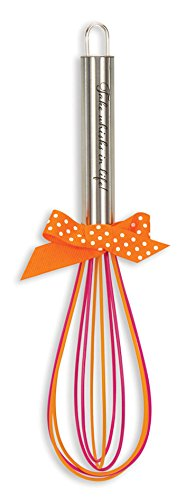 Brownlow Gifts Stainless Steel Whisk with Silicone Coating, Pink/Orange