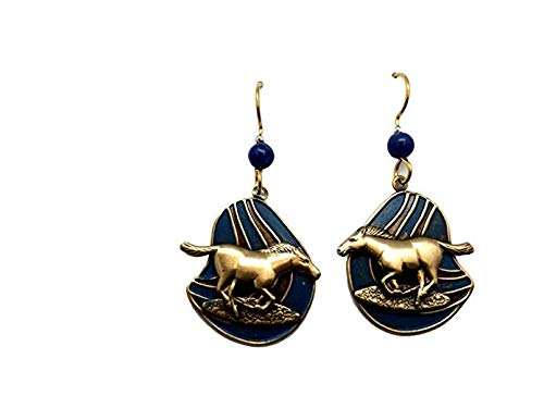 Silver Forest Goldtone Horses on Blue Background Dangle Earrings