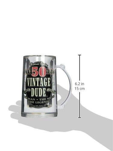 Laid Back CF11003 50th BD Vintage Dude Tankard, 14-Ounce